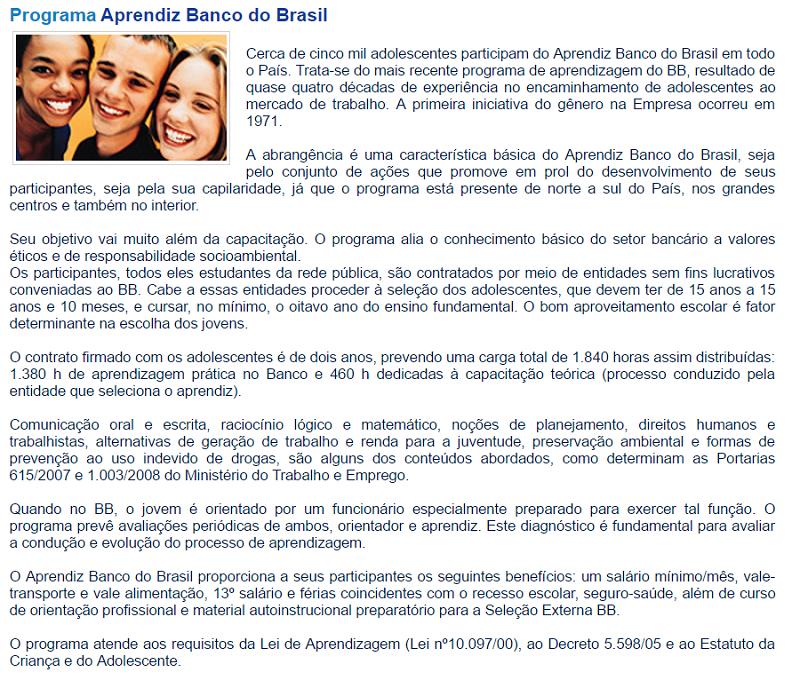 programa jovem aprendiz do banco do brasil