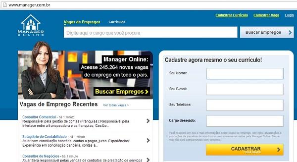 Acesse o site de emprego www.manager.com.br